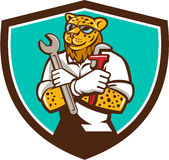 Leopard Mechanic Spanner Monkey Wrench Crest Cartoon Stock Images