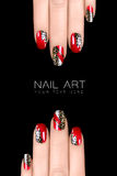 Leopard Nail Art. Nail Polish Stickers with Animal Print Royalty Free Stock Photos