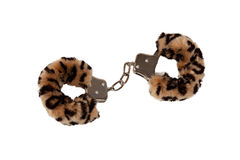 Leopard pattern handcuffs stock photos