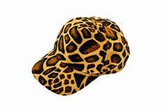 Leopard pattern hat. Isolated on white background stock photo