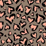 Leopard pattern. Seamless  print. Abstract repeating pattern - heart leopard skin imitation can be painted on clothes or fab stock illustration