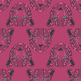 056 leopard pattern 01. Vector pattern, seamless Wallpaper with a picture of the muzzle of the leopard Stock Photos