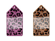 Leopard patterned labels. Labels with a leopard pattern (pink and natural - brown Royalty Free Stock Images