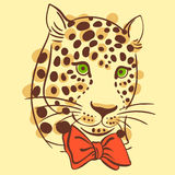 022 leopard pattrn 02. Vector illustration muzzle with a trendy leopard bow tie, a print for your t-shirts or sweatshirts Royalty Free Stock Image