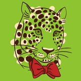 022 leopard pattrn 02. Vector illustration muzzle with a trendy leopard bow tie, a print for your t-shirts or sweatshirts Royalty Free Stock Photography