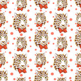022 leopard pattrn 02. Vector pattern, seamless wallpaper with the image of the muzzle leopard Royalty Free Stock Photos