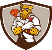 Leopard Plumber Wrench Plunger Crest Retro. Illustration of a leopard plumber holding wrench and plunger viewed from front  set inside shield crest on isolated Stock Photography
