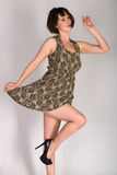 Leopard print dress. Statuesque young brunette in a leopard print dress royalty free stock images