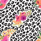 Leopard print and flower embroidery fashion patch. Seamless pattern. Vector illustration background vector illustration