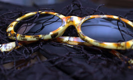 Leopard Print Glasses. Glasses with dark lenses and leopard print frame stock photos