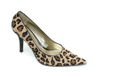 Leopard print high heel shoe Royalty Free Stock Image