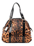 Leopard-print leather shoulder bag. Isolated over white royalty free stock photo