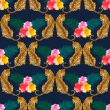 Leopard print pattern with tropical leaves and colorful hibiscus royalty free illustration