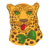 001 leopard 01. Print for t-shirts, vector illustration of the face of a leopard with its tongue hanging out in a bow-tie Stock Photo