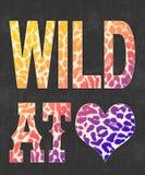 `wild at love`  typography, t-shirt print stock illustration
