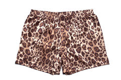 Leopard printed satin boxer shorts. On white background Stock Images