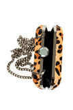 Leopard purse isolated on white background vertical Stock Photo