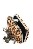 Leopard purse opened isolated on white background Stock Image