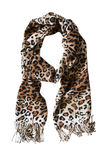Leopard scarf. Warm scarf with leopard print on white background Royalty Free Stock Images