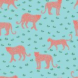 Leopard seamless coral pattern. Vector illustration for textile, postcard, fabric, wrapping paper, background and royalty free illustration