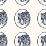 Leopard. Seamless pattern with animals of Africa. Hand drawing of wildlife. Vector illustration art. Black and white. Old. Engraving. Vintage. Design for stock illustration