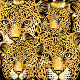 Leopard seamless pattern. Seamless pattern with leopard heads. Vector illustration on black background royalty free illustration