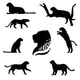 Leopard set vector. Leopard set of black silhouettes. Icons and illustrations of animals. Wild animals pattern stock illustration