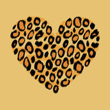 Leopard skin heart animal print, vector Stock Photos