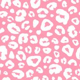 Leopard skin print seamless pattern background. Animal fur spot abstract camouflage texture. Pink and white hand drawn spotted print for textile, fabric stock illustration