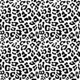Leopard skin repeated seamless pattern texture. Black and white colors 2x2 tiles sample Vector Illustration