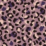 Leopard skin seamless pattern. Abstract animal fur wallpaper. Purple and warm pink colors texture repeat. Wild african cats stock illustration