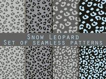Leopard skin seamless pattern. Set snow leopard pattern. Vector. Stock Photo