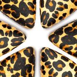 Leopard skin shoes. On white background royalty free stock image