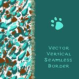 Abstract brushstroke, spots and gold stripe. Spotted turquoise border frame. stock illustration