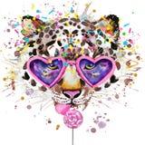 Leopard-T-Shirt Grafiken Leopardillustration mit strukturiertem Hintergrund des Spritzenaquarells ungewöhnliches Illustrationsaqu Stockfotos