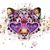 Leopard T-shirt graphics. leopard illustration with splash watercolor textured  background. Stock Photography