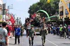 Leopard Tanks full of civilians, Yogyakarta city. Yogyakarta, Indonesia - 11 October 2014:  258th city anniversary - German Leopard 2 tanks are chock full with Stock Photos