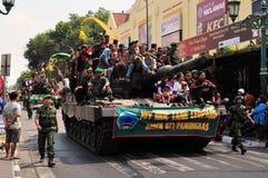 Leopard Tanks full of civilians, Yogyakarta city Royalty Free Stock Photography