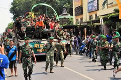 Leopard Tanks full of civilians, Yogyakarta city Stock Images