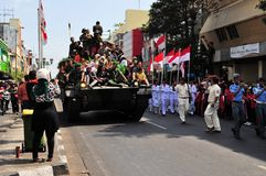 Leopard Tanks full of civilians, Yogyakarta city Stock Photography