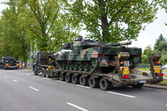 Leopard 2 tanks transport convoy Royalty Free Stock Photo