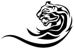 Leopard tattoo. Illustrated line art leopard tattoo design Royalty Free Stock Image
