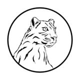 Leopard tattoo, vector, white background, in a mug stock illustration
