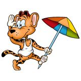 Leopard with umbrella Stock Images