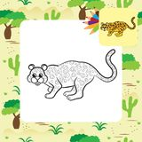 Leopard vector illustration. Coloring book Royalty Free Stock Image