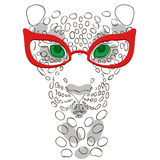 001 leopard 01. Vector illustration, the muzzle of the leopard in fashion glasses for prints on your clothes Stock Photos