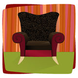 Leopard Velvet Armchair (Vecto. Whimsical comfy overstuffed chair with leopard print velvet. Chair can be used without background Stock Images