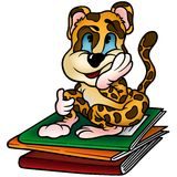Leopard and Workbooks Stock Image