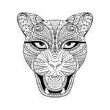 Leopard zentagle Art für T-Shirt, Tätowierung oder Malbuch stockbild