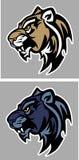 Leoparden-Puma-Maskottchen-vektorzeichen Lizenzfreie Stockfotos